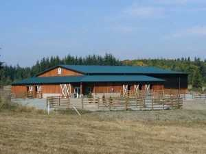 An arena and equestrian facility built by Spane Buildings in Skagit County WA