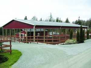 An arena built by Spane Buildings the stable builder in Monroe WA