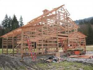 barn being built by Spane Buildings in Burlington WA