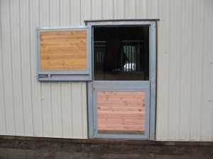Stall door view of a barn built by Spane Buildings in Puyallup Washington