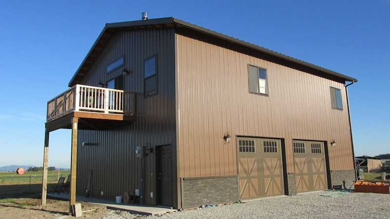 the rear view of a pole garage by spane buildings in pierce county - Pole Garage