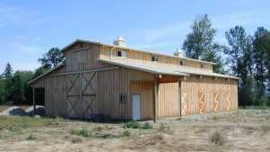 This pole barn built by Spane Buildings was built in Snohomish County Washington
