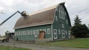 A barn refoof in progress by Spane Buildings in Washington State