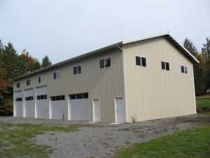 Another angle f a four bay pole garage by Spane Buildings