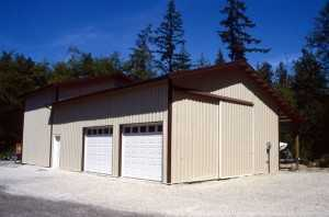 Garage built by Spane Buildings in Western Washington State