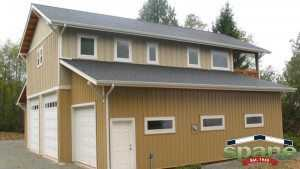 Post frame garage by Spane Buildings on Camano Island Washington