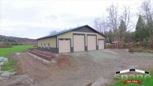 Spane Buildings post frame helicopter garage in Skagit County
