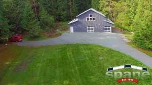 Spane motorcycle garage built on Whidbey Island WA angled view