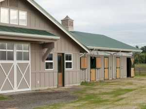 The doors of an arena built by the stable builder Spane Buildings in Snohomish County WA