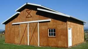 This custom pole barn was built by Spane Buildings in Pierce County Washington