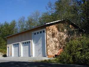 This three bay pole garage was constructed by Spane Buildings in Snohomish Washington
