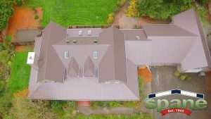 Spane Buildings metal reroof in Woodinville WA aerial view front