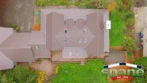 Spane Buildings metal reroof in Woodinville WA aerial view rear