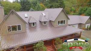 Spane Buildings metal reroof in Woodinville WA angled view